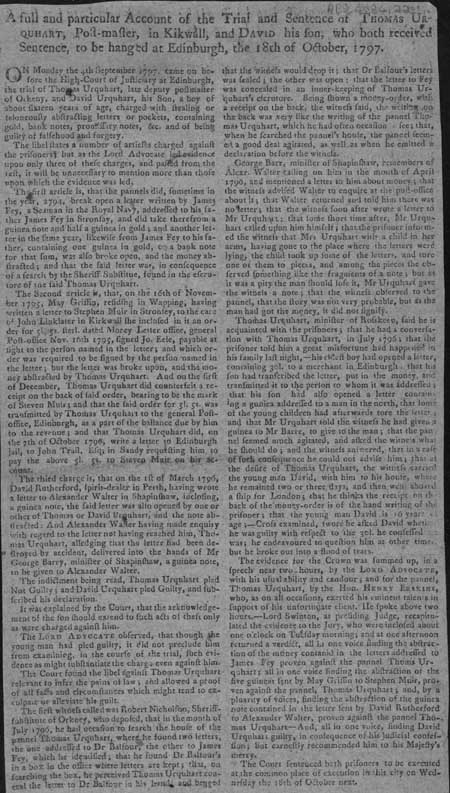 Broadside regarding the executions of Thomas and David Urquhart