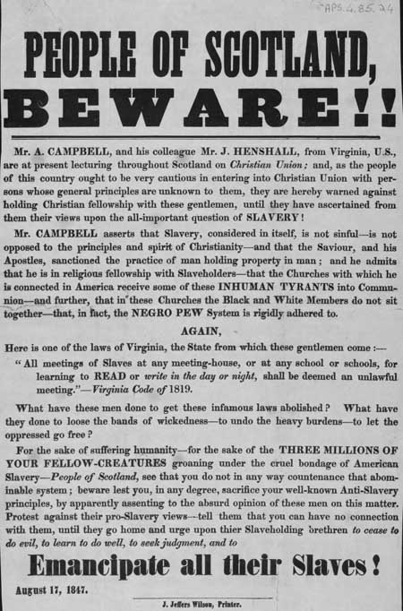Broadside entitled 'People of Scotland Beware!'