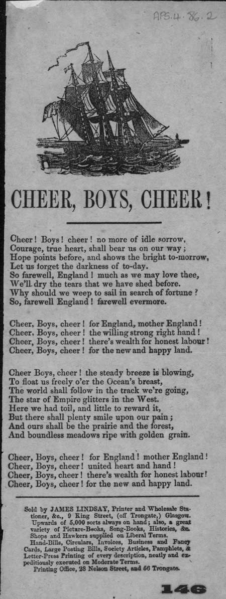 Broadside ballad entitled 'Cheer, Boys, Cheer!'