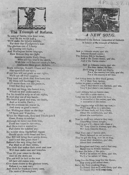 Broadside ballads entitled 'The Triumph of Reform' and 'A New Song'