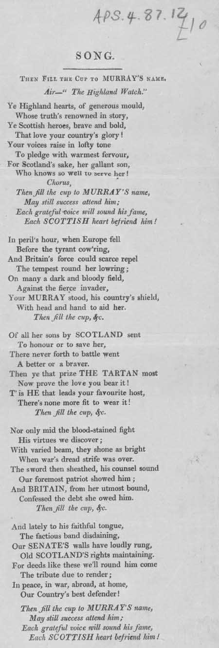 Broadside ballad entitled 'Song'