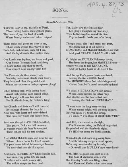 Broadside ballad entitled 'Song'