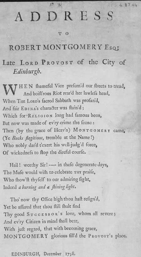 Broadside ballad entitled 'Address to Robert Montgomery Esq; Late Lord Provost of the City of Edinburgh'