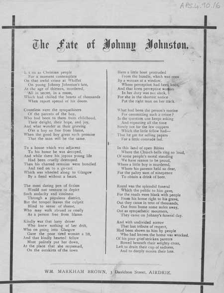 Broadside ballad entitled 'The Fate of Johnny Johnson'