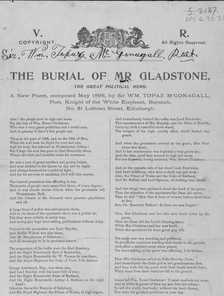 Broadside publication of a poem entitled 'The Burial of Mr Gladstone'