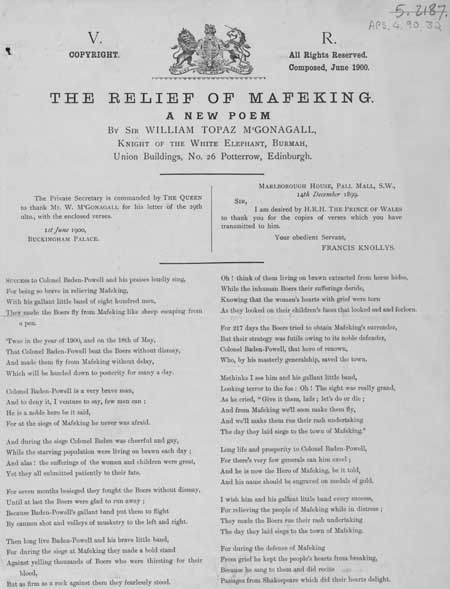 Broadside publication of a poem entitled 'The Relief of Mafeking'