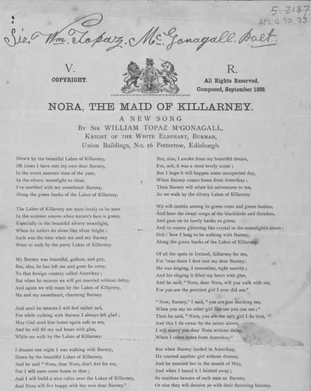 Broadside publication of a poem entitled 'Nora, the Maid of Killarney'