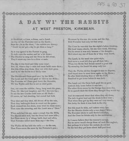 Broadside ballad entitled 'A Day wi' the Rabbits at West Preston, Kirkbean'
