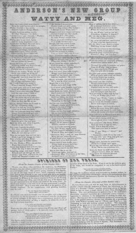 Broadside entitled 'Anderson's New Group of the Parting Scene of Watty and Meg'