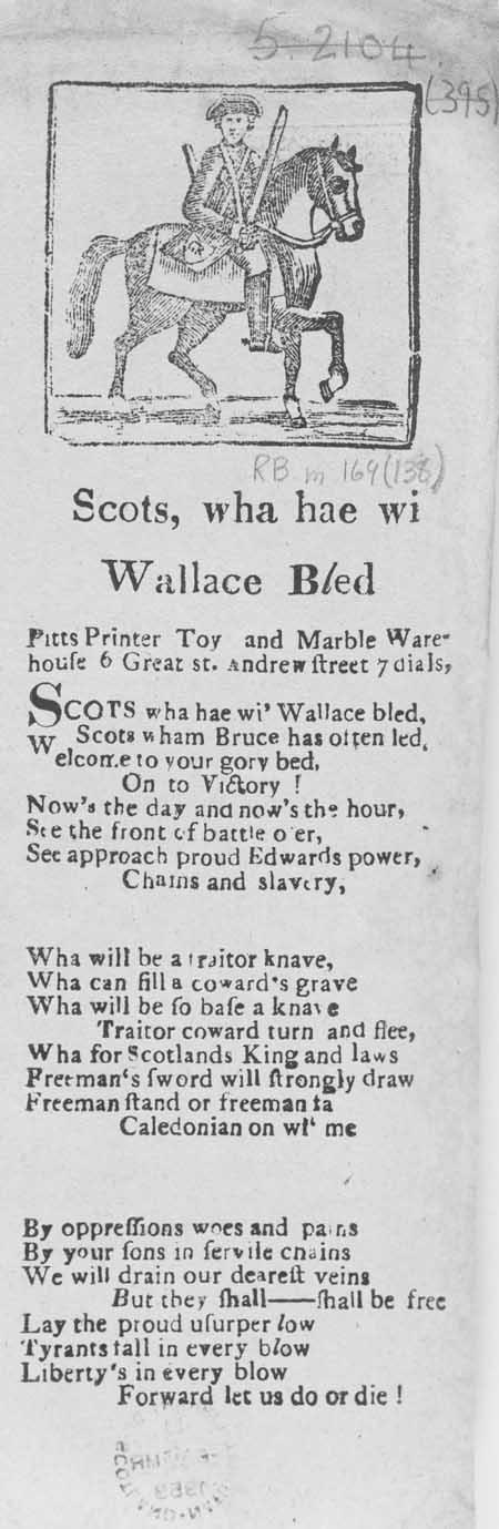 Broadside ballad entitled 'Scots Wha Hae wi Wallace Bled'