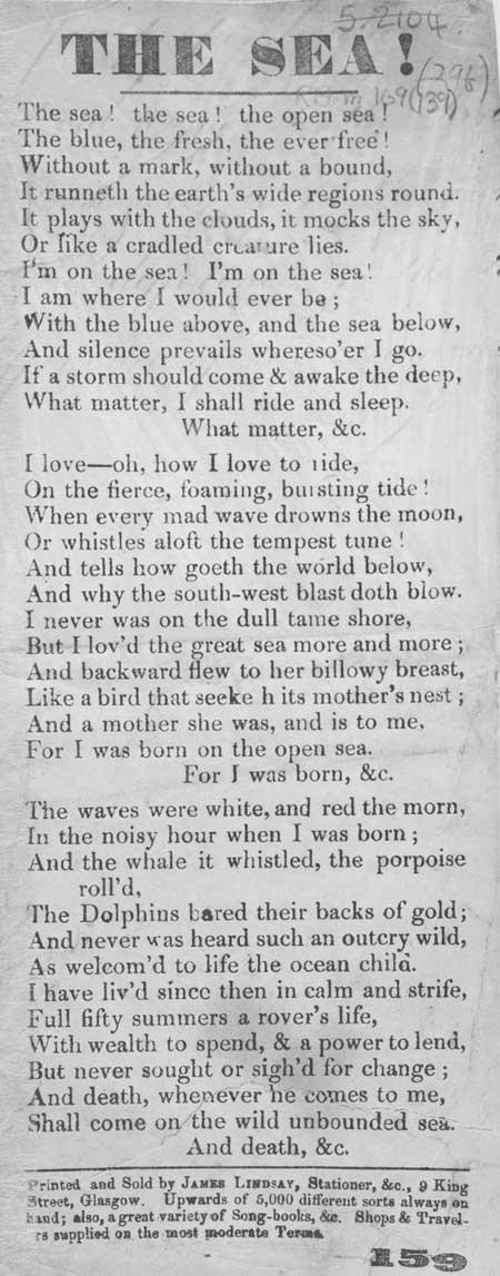 Broadside ballad entitled 'The Sea!'
