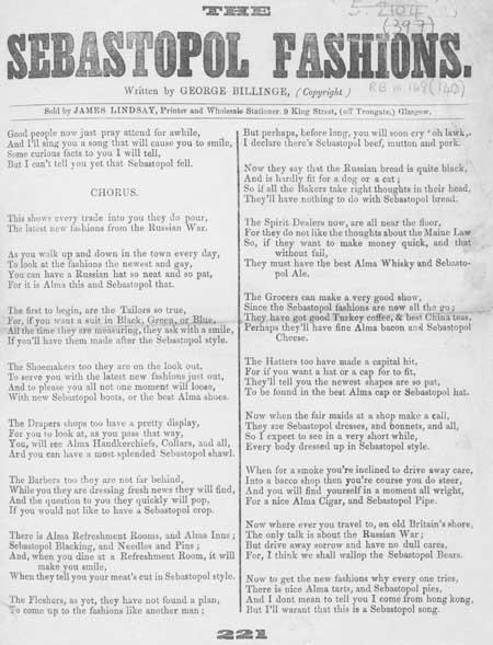 Broadside ballad entitled 'The Sebastopol Fashions'