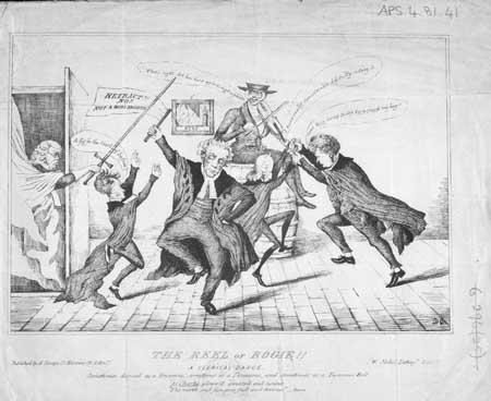 Satrical cartoon entitled 'The Reel of Bogie'