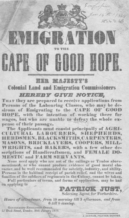 Broadside entitled 'Emigration to the Cape of Good Hope'