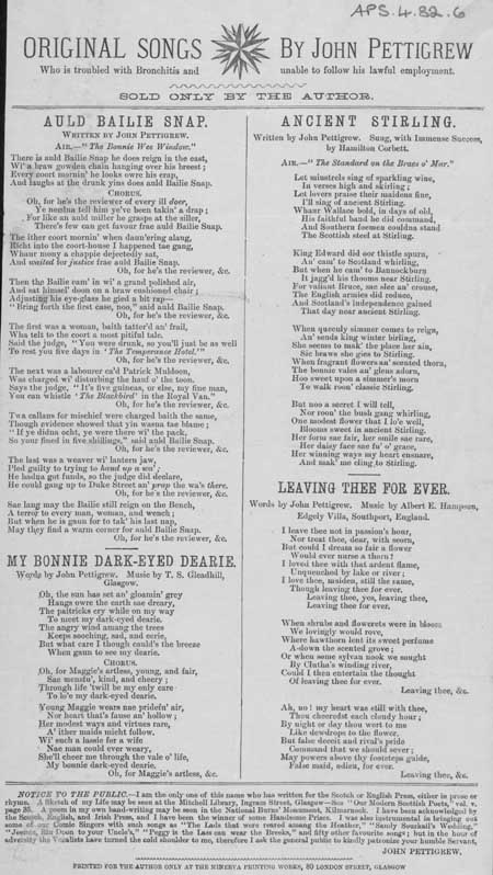 Broadside entitled 'Original Songs by John Pettigrew'