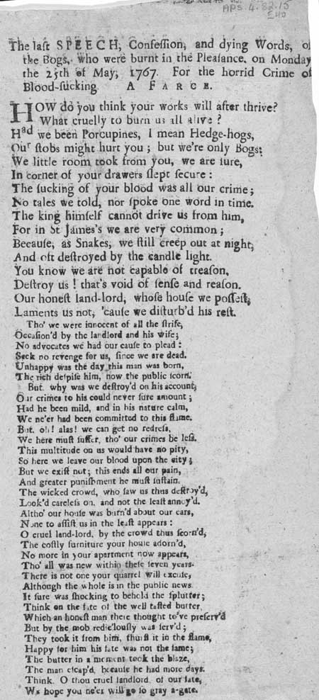 Broadside ballad entitled 'The Last Speech, Confession and Dying Words of the Bogs: A Farce'