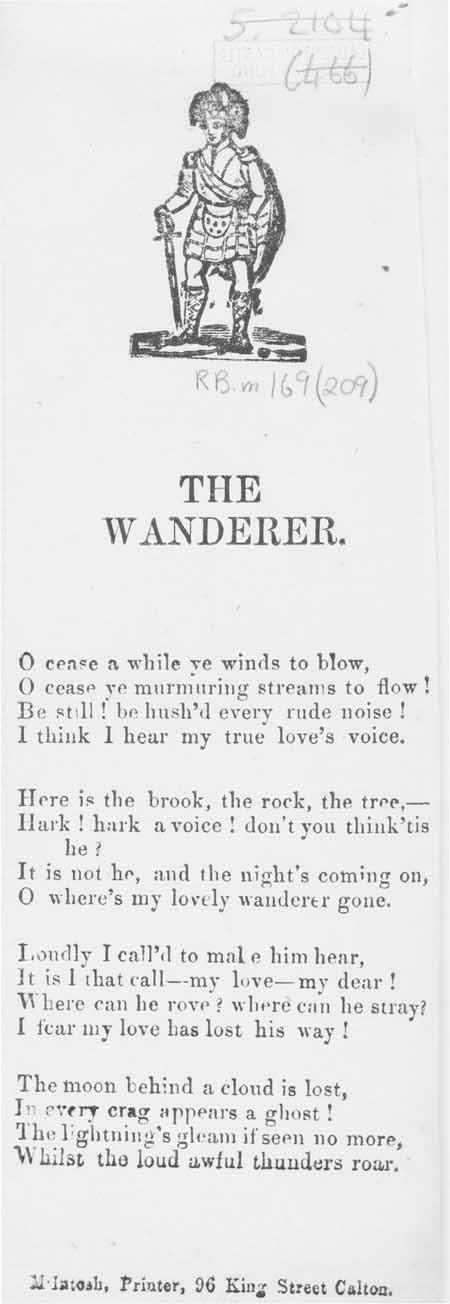 Broadside ballad entitled 'The Wanderer'