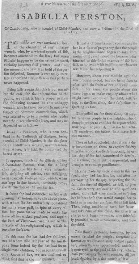Broadside entitled 'Transactions of Isabella Perston'