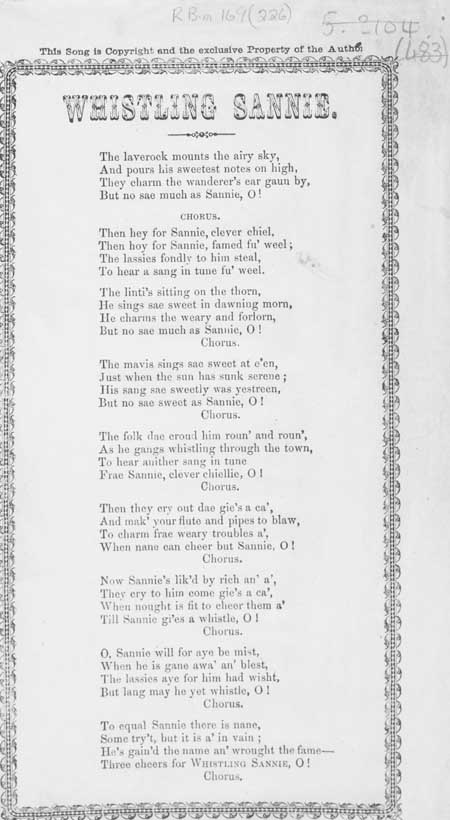 Broadside ballad entitled 'Whistling Sannie'