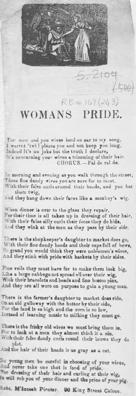 Broadside ballad entitled 'Woman's Pride'
