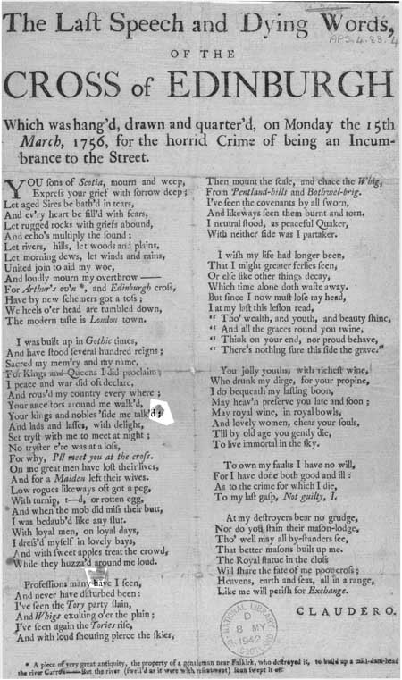 Broadside regarding the last speech of the 'Cross of Edinburgh'