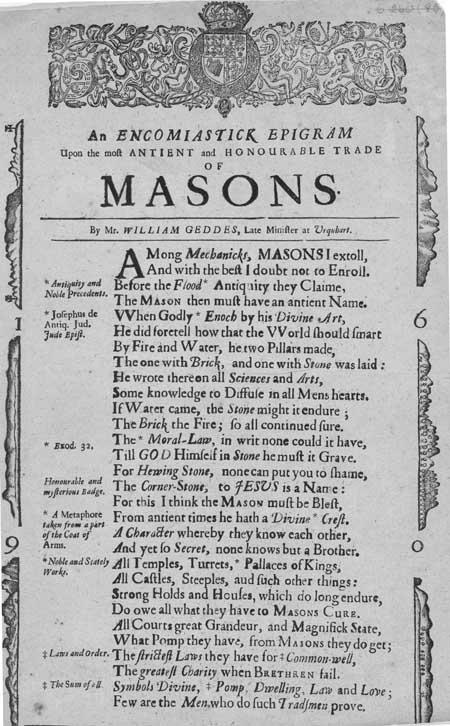 Broadside epigram regarding masons