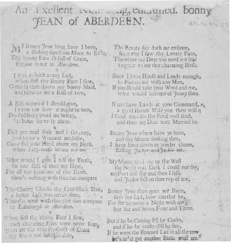 Broadside ballad entitled 'Bonny Jean of Aberdeen'