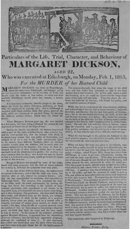Broadside regarding the execution of Margaret Dickson