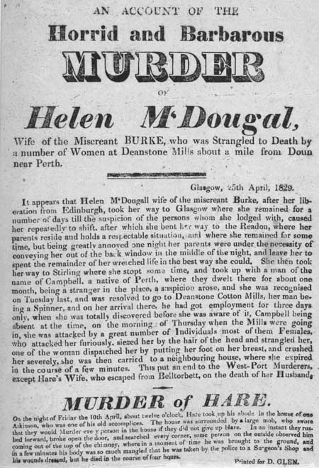 Broadside entitled 'An Account of the Horrid and Barbarous Murder of Helen M'Dougal'