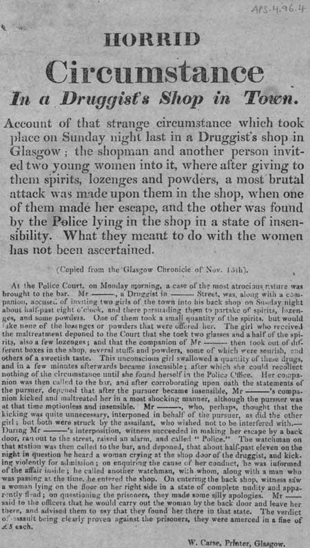 Broadside entitled 'Horrid Circumstance in a Druggist's Shop in Town'