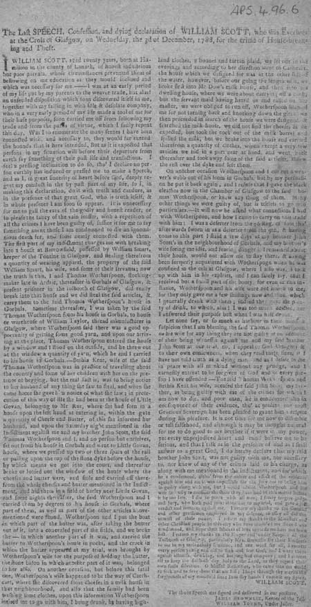 Broadside letter containing the final words of William Scott, Glasgow, 1788