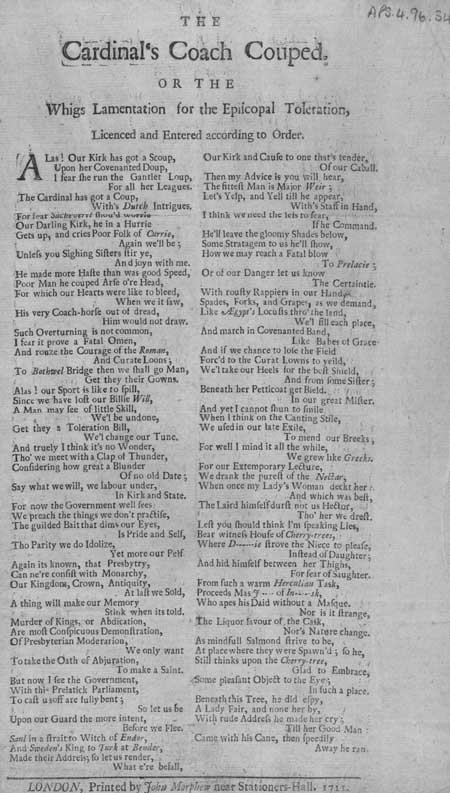 Broadside entitled 'The Cardinal's Coach Couped, or the Whigs Lamentation for the Episcopal Toleration'