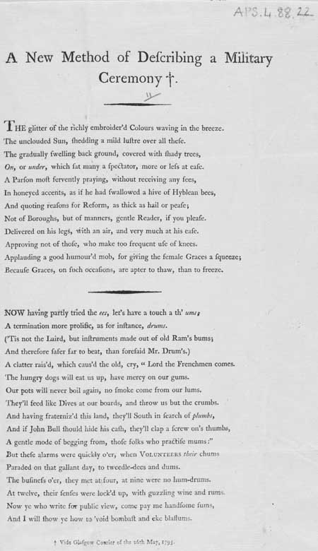 Broadside ballad entitled 'A New Method of Describing a Military Ceremony'