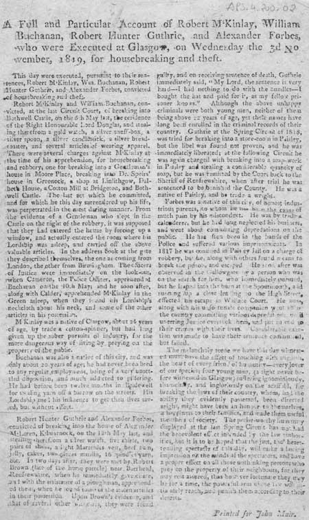 Broadside concerning the execution of Robert McKinlay, William Buchanan, Robert Hunter Guthrie and Alexander Forbes, Glasgow, 1819
