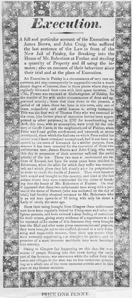 Broadside concerning the execution of James Brown and John Craig, Paisley