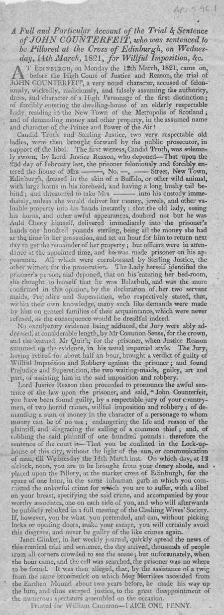 Broadside entitled 'Trial and Sentence of John Counterfeit'