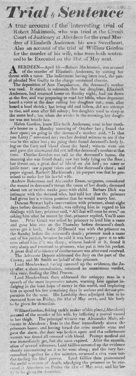 Broadside entitled 'Trial and Sentence of Robert Mackintosh'