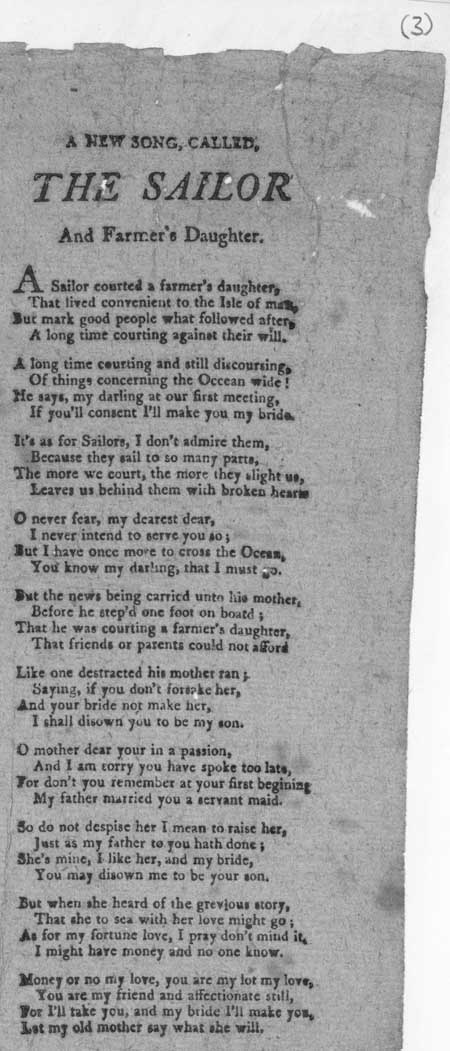 Broadside ballad entitled 'The sailor and farmer's daughter'