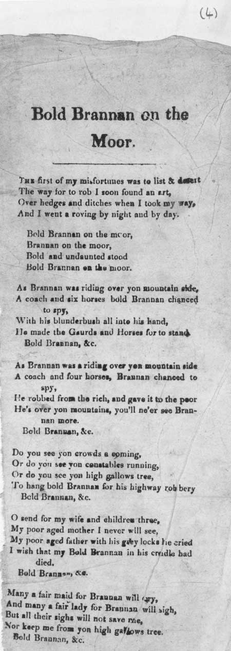 Broadside ballad entitled 'Bold Brannan on the moor'