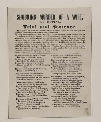 (6) Shocking murder of a wife, at Epping