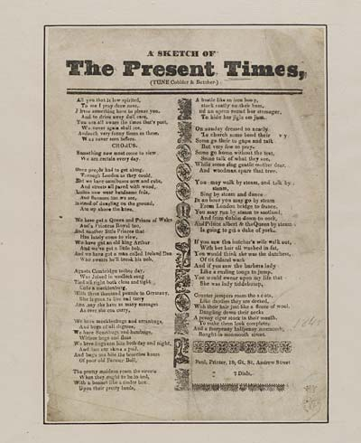 (4) Sketch of the present times