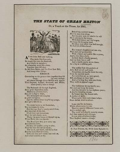 (9) State of Great Briton [sic] or, a touch on the times, for 1841