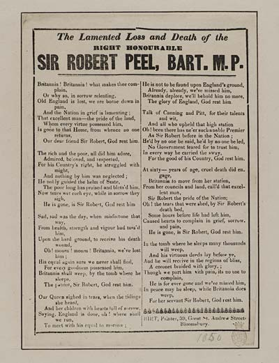 (11) Lamented loss and death of the right honourable Sir Robert Peel, Bart MP