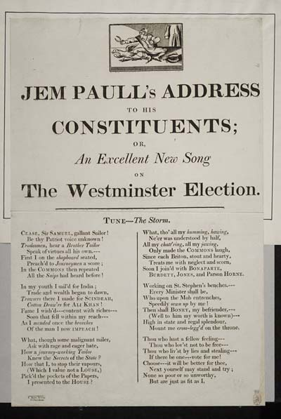 (23) Jem Paull's address to his constituents; or, an excellent new song on the Westminster election