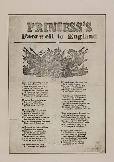 (29) Princess's faerwell [sic] to England