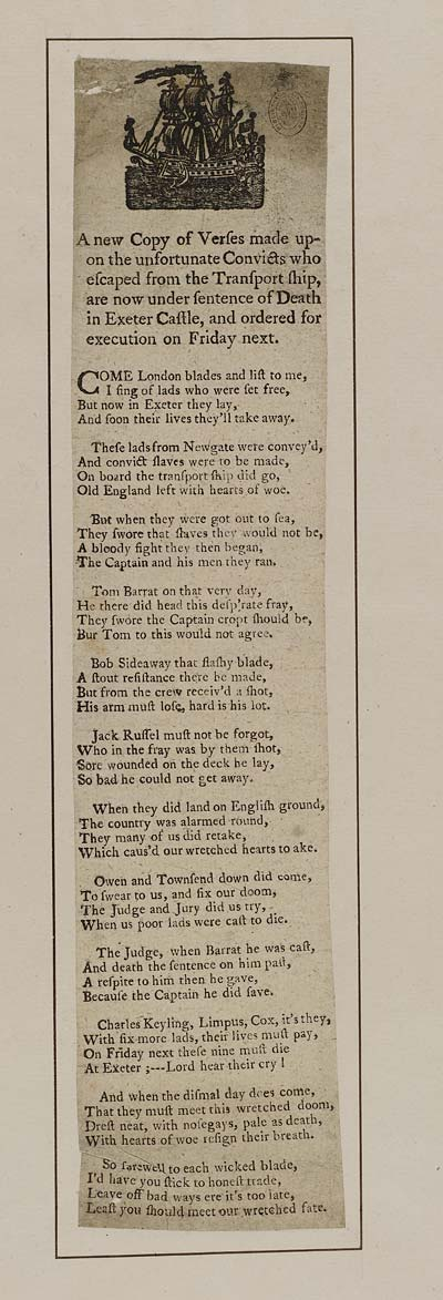 (29) Newcopy of verses made upon the unfortunate convicts who escaped from the transport ship