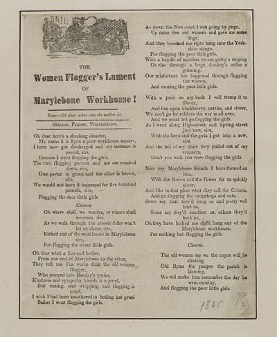 (42) Flogger's lament of Marylebone workhouse