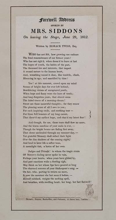 (51) Farewell address spoken by Mrs Siddons on leaving the stage, June 29, 1812