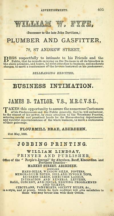 411 scottish post office directories towns aberdeen 1858 plumber and gasfitter 78 st andrew street begs respectfully to intimate to his friends and the public that he intends carrying on the business reheart Image collections