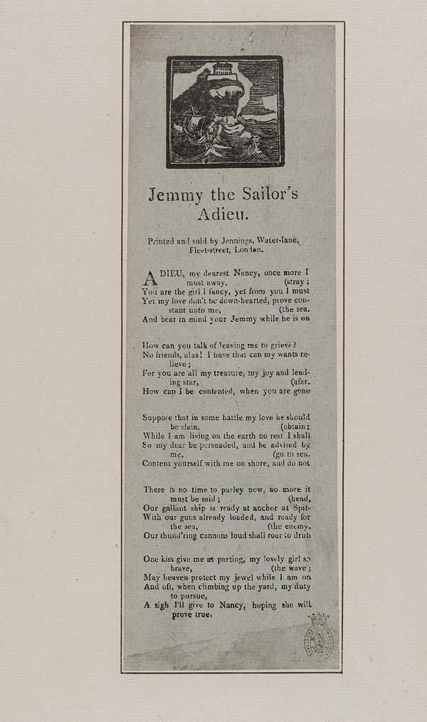 (2) Jemmy the sailor's adieu